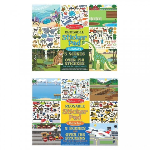 Melissa & Doug Reusable Sticker Pads Set: Vehicles and Habitats, 315+ Stickers and 10 Scenes Free Shipping