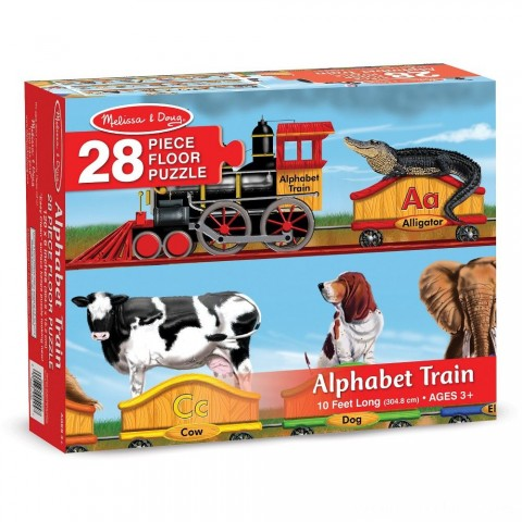Melissa And Doug Alphabet Train Letters And Animals Jumbo Floor Puzzle 28pc Free Shipping