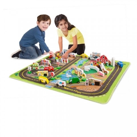 Melissa & Doug Deluxe Activity Road Rug Play Set with 49pc Wooden Vehicles and Play Free Shipping