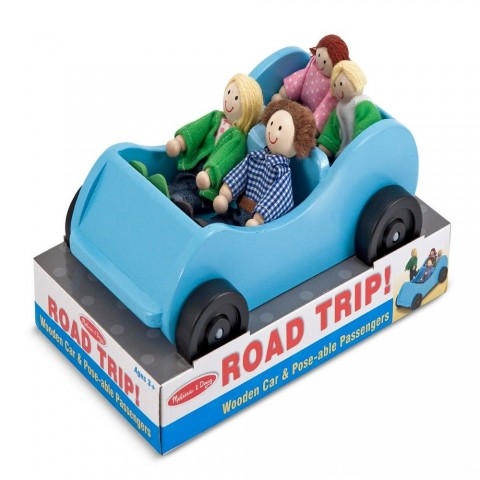 Melissa & Doug Road Trip Wooden Toy Car and 4 Poseable Dolls (4-5 inches each) Free Shipping