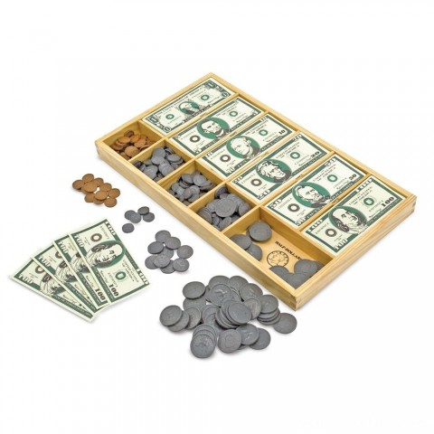 Melissa & Doug Play Money Set - Educational Toy With Paper Bills and Plastic Coins (50 of each denomination) and Wooden Cash Drawer for Storage Free Shipping