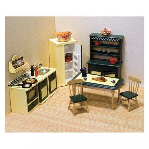 Melissa & Doug Classic Wooden Dollhouse Kitchen Furniture (7pc) - Buttery Yellow/Deep Green Free Shipping