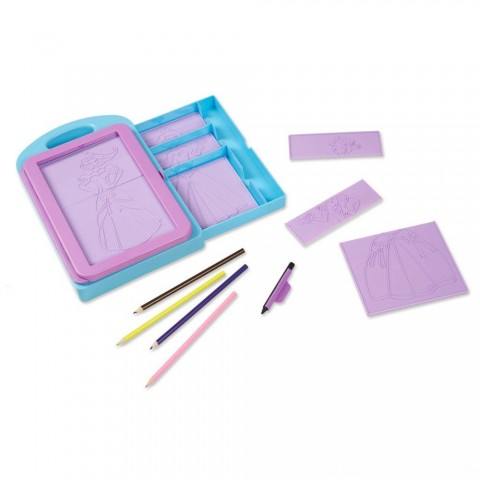 Melissa & Doug Princess Design Activity Kit - 9 Double-Sided Plates, 4 Colored Pencils, Rubbing Crayon Free Shipping