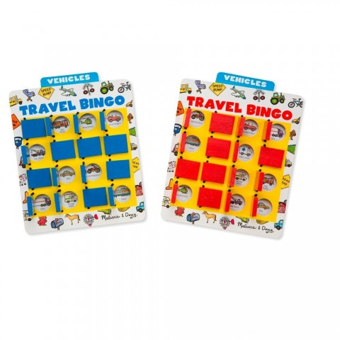 Melissa & Doug Flip to Win Travel Bingo Game - 2 Wooden Game Boards, 4 Double-Sided Cards, Kids Unisex Free Shipping