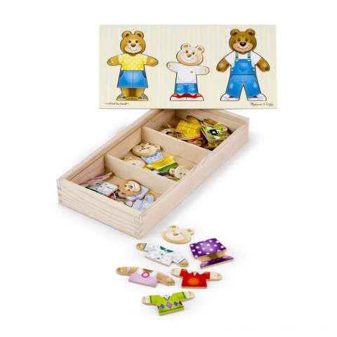 Melissa & Doug Mix 'n Match Wooden Bear Family Dress-Up Puzzle With Storage Case (45pc) Free Shipping