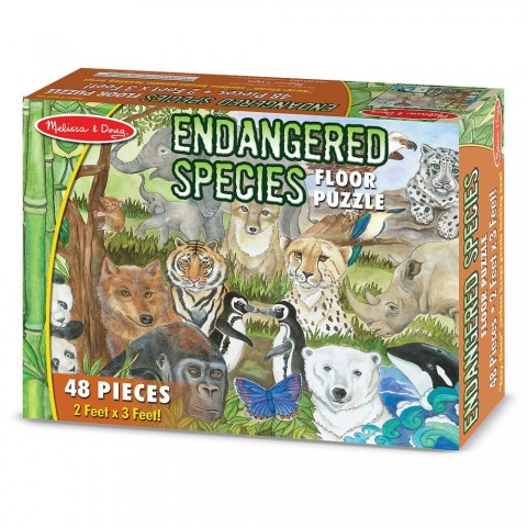 Melissa And Doug Endangered Species Jumbo Floor Puzzle 48pc Free Shipping