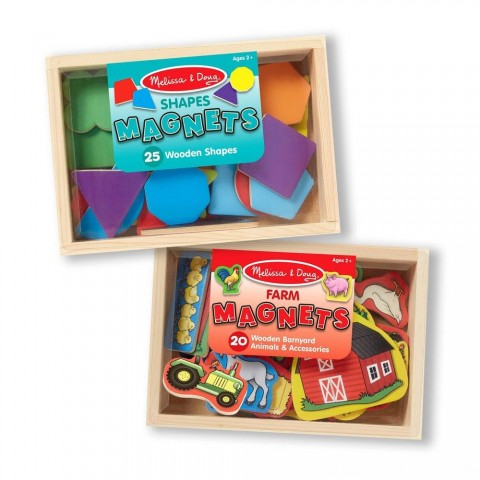 Melissa & Doug Wooden Magnets Set - Shapes and Farm (45pc) Free Shipping