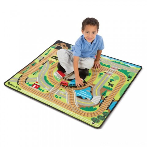 Melissa & Doug Round the Rails Train Rug With 3 Linking Wooden Train Cars (39 x 36 inches) Free Shipping