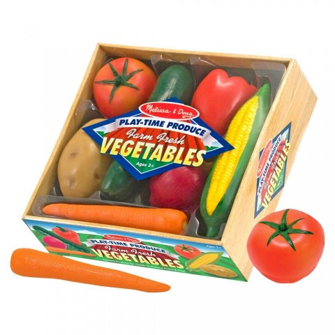Melissa & Doug Playtime Produce Vegetables Play Food Set With Crate (7pc) Free Shipping