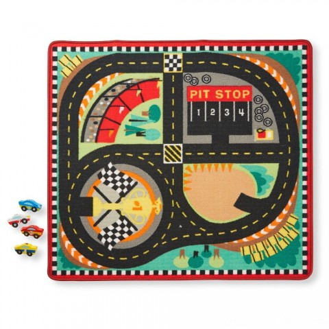 Melissa & Doug Round the Speedway Race Track Rug With 4 Race Cars (39 x 36 inches) Free Shipping