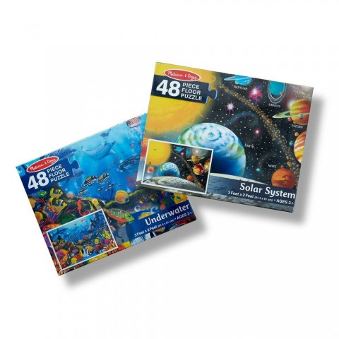 Melissa And Doug Solar System And Underwater Jumbo Floor Puzzle 48pc Free Shipping