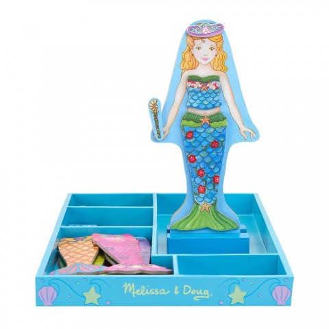 Melissa & Doug Merry Mermaid Wooden Dress-Up Doll and Stand - 35 Magnetic Accessories Free Shipping