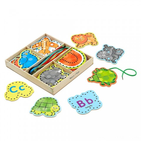 Melissa & Doug Alphabet Wooden Lacing Cards With Double-Sided Panels and Matching Laces Free Shipping