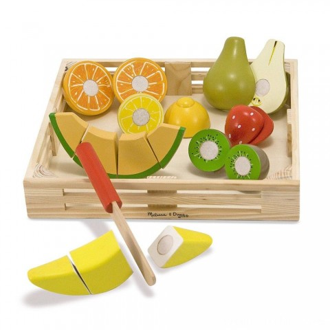 Melissa & Doug Cutting Fruit Set - Wooden Play Food Kitchen Accessory Free Shipping