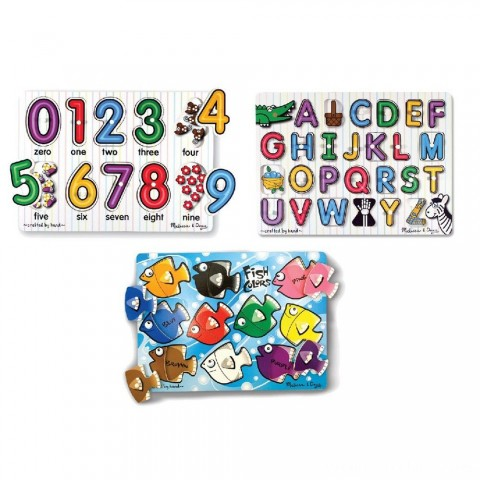 Melissa & Doug Fish Colors, ABC, and Numbers Wooden Mix 'n Match Peg Puzzle Bundle Free Shipping
