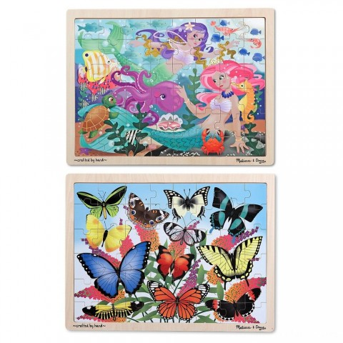 Melissa & Doug Wooden Jigsaw Puzzle Set - Mermaids and Butterflies 96pc Free Shipping