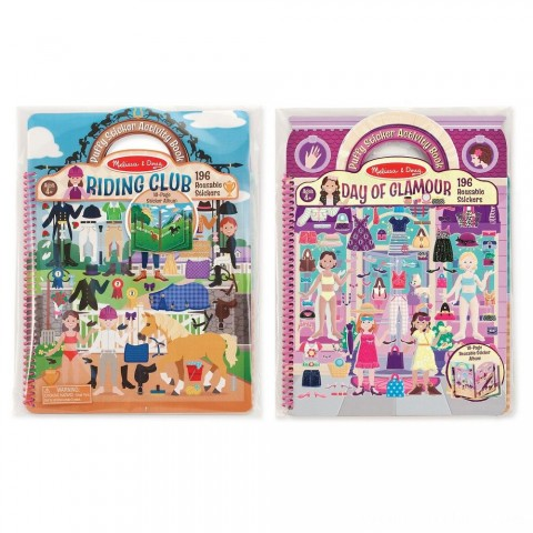Melissa & Doug Deluxe Puffy Sticker Activity Book Set: Day of Glamour and Riding Club - 392 Reusable Stickers Free Shipping