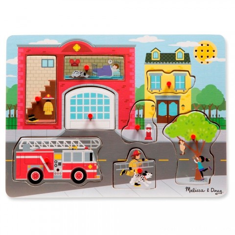 Melissa & Doug Around the Fire Station Sound Puzzle - Wooden Peg Puzzle (8pc) Free Shipping