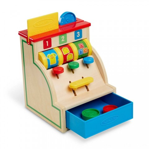 Melissa & Doug Spin and Swipe Wooden Toy Cash Register With 3 Play Coins and Pretend Credit Card Free Shipping