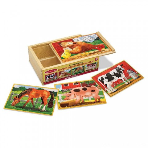 Melissa & Doug Farm 4-in-1 Wooden Jigsaw Puzzles in a Storage Box (48pc total) Free Shipping